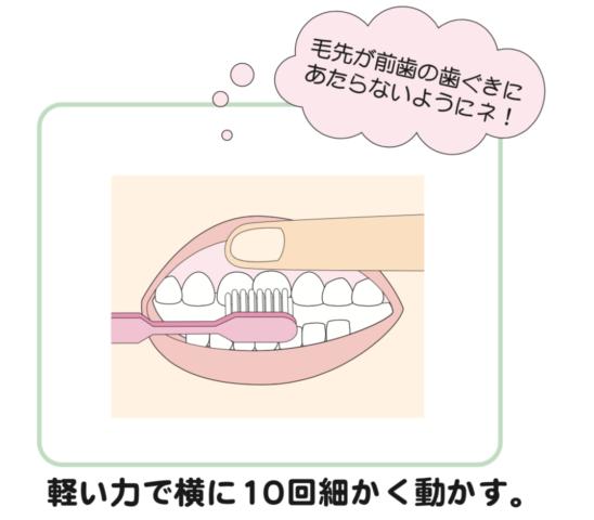 八王子レイス歯科クリニック歯科衛生士コラム赤ちゃんの歯磨き_仕上げ磨きのときは毛先が前歯の歯茎に当たらないように、軽い力で10回細かく動かす
