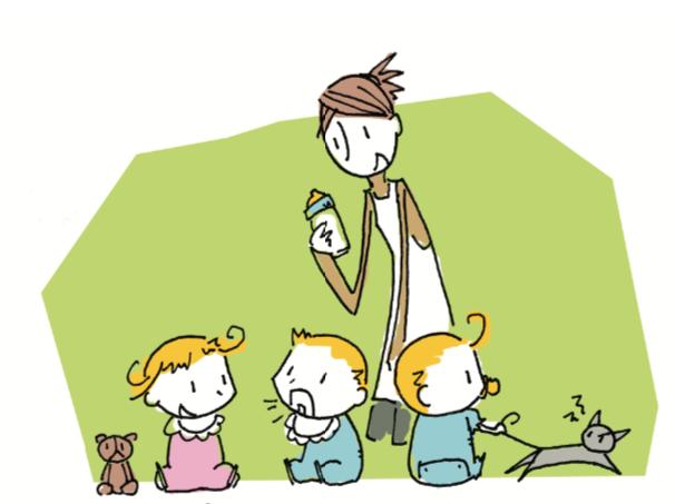 八王子レイス歯科クリニック指しゃぶりの影響のコラム_哺乳瓶をもつ保育士さんと3人の赤ちゃんのイラスト
