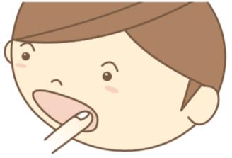 八王子レイス歯科クリニック|口内炎について|子どもが口内炎を気にしている様子のイラスト