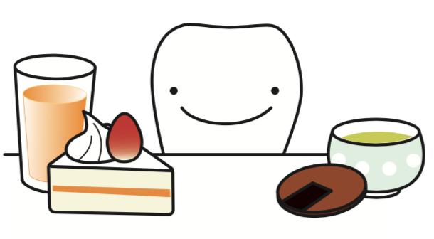 八王子レイス歯科クリニック 歯科衛生士コラム 虫歯の原因と対策 ケーキとジュース、おせんべいと日本茶のイラスト